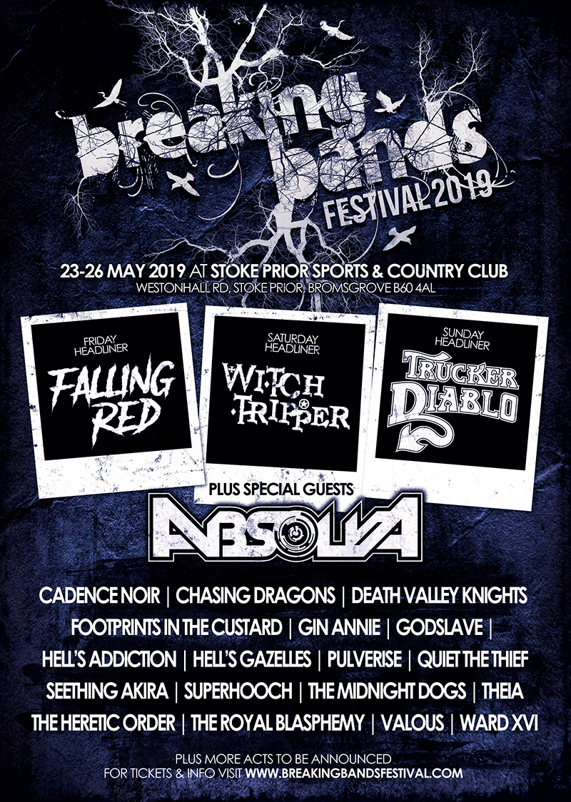 BREAKING BANDS FESTIVAL ANNOUNCE HEADLINERS AND 8 MORE BANDS - PLUS ONLY 150 TICKETS LEFT FOR 2019 EVENT!