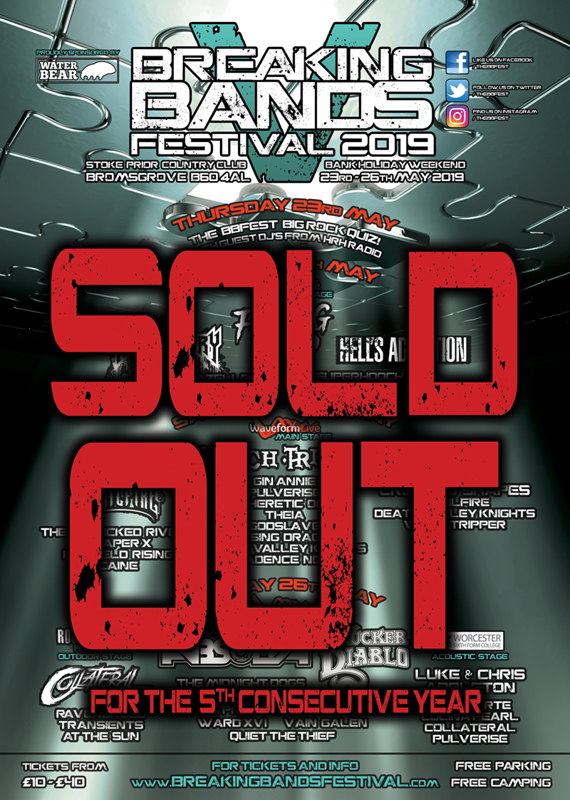 BREAKING BANDS FESTIVAL SELLS OUT FOR 5TH CONSECUTIVE YEAR!